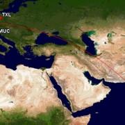 Flugroute Kurztrip nach Indien